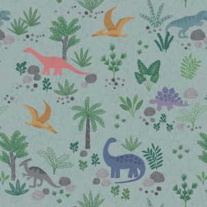 green dinosaur fabric