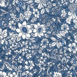 blue white floral fabric poplin