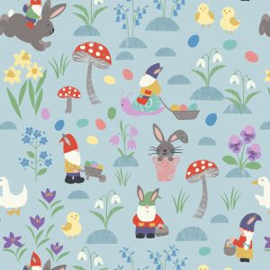 easter fabric rabbits blue