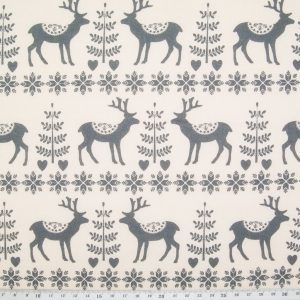 scandi reindeer fabric grey