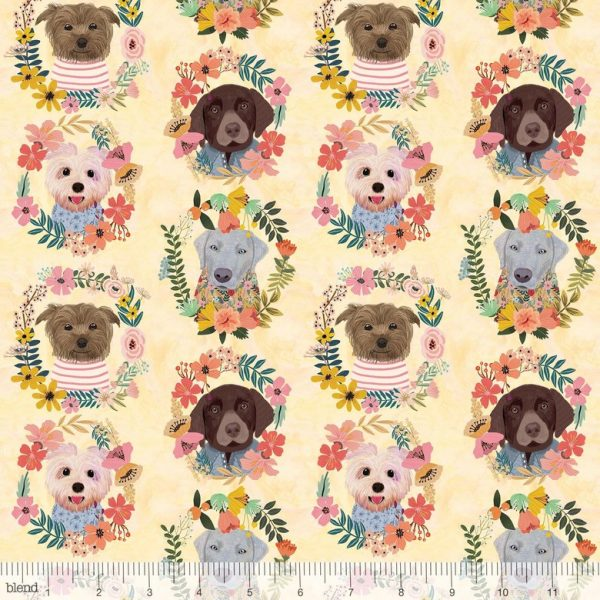 dog cotton floral fabric