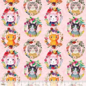 cats floral cotton fabric