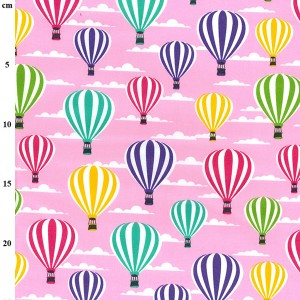 pink hot air balloon fabric cotton