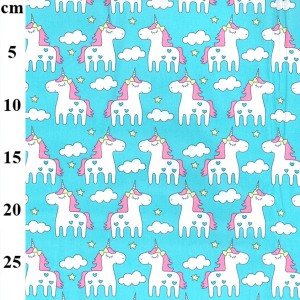 blue unicorn cotton fabric