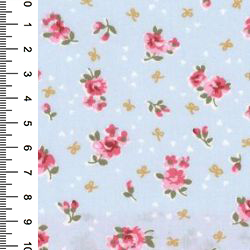 pink roses on light blue poplin