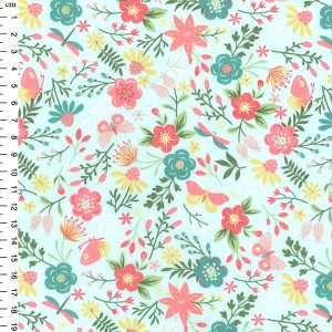 aqua floral cotton fabric