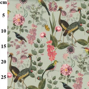 canva cotton floral birds
