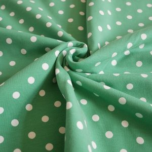 green dots jersey fabric