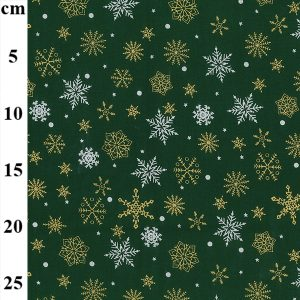 snowflakes gold green christmas fabric