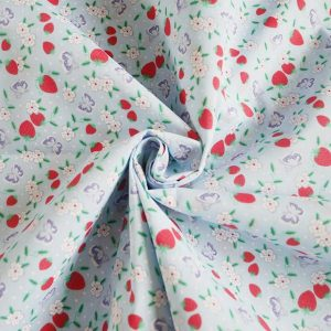 strawberries and flowers polycotton