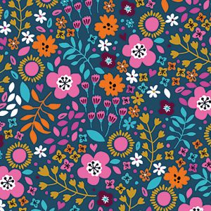 navy floral jersey fabric