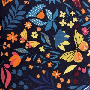 Butterfly floral french terry fabric